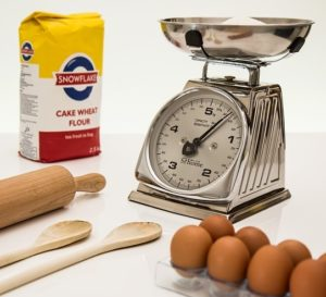 Kitchen scale and ingredients